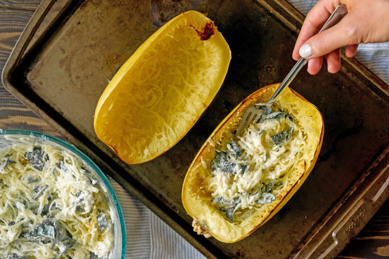 filling spaghetti squash with filling before baking