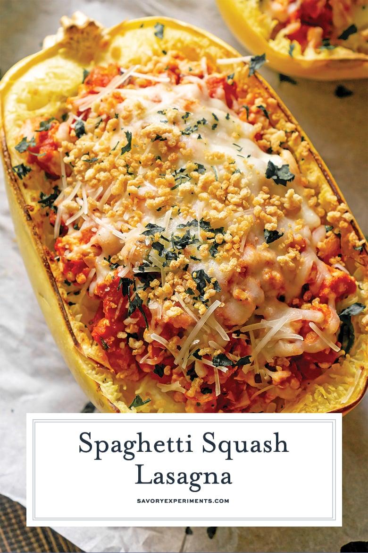 close up of spaghetti squash lasagna for pinterest