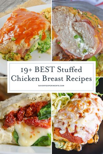collage of stuffed chicken breast recipes