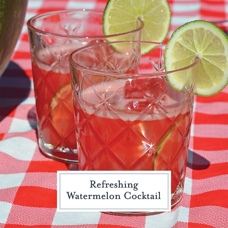 Close up of two watermelon cocktails in short rocks glasses