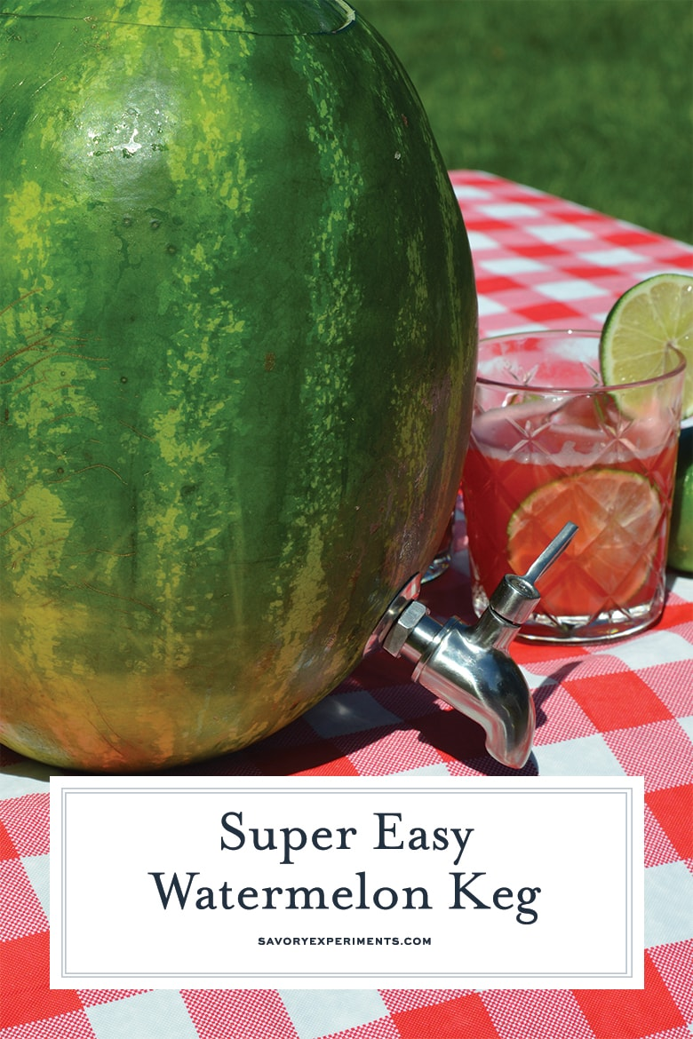 watermelon keg with glass of watermelon cocktail