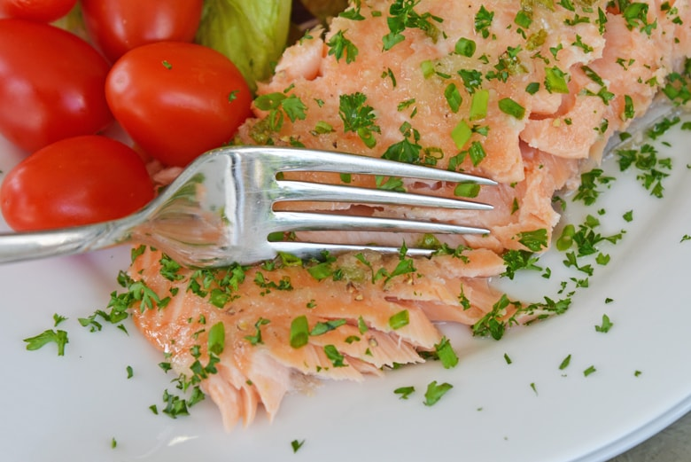 fork easily flaking salmon