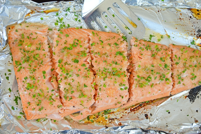 baked salmon filet cut into pieces