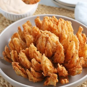 blooming onion on a table