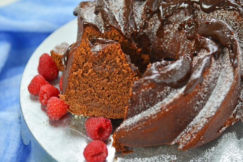slice of rich chocolate bundt cake