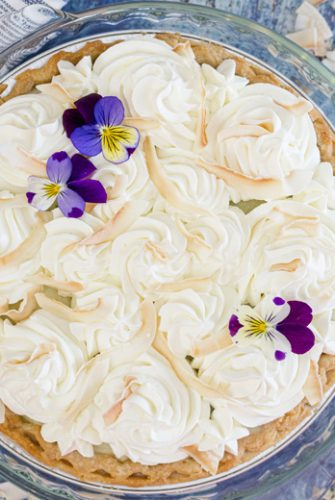 overhead of coconut cream pie
