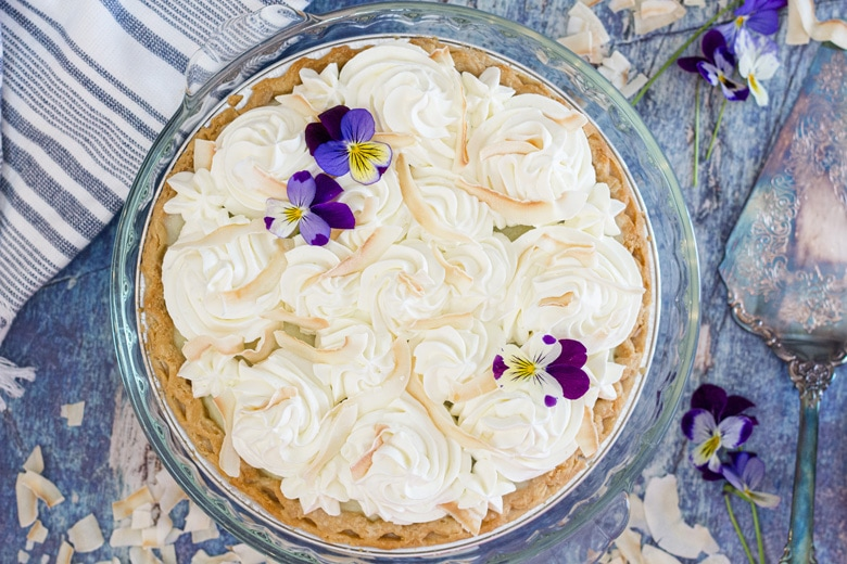 no bake pie with edible flowers