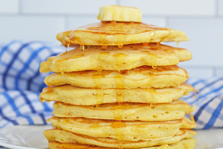 close up stack of pancakes