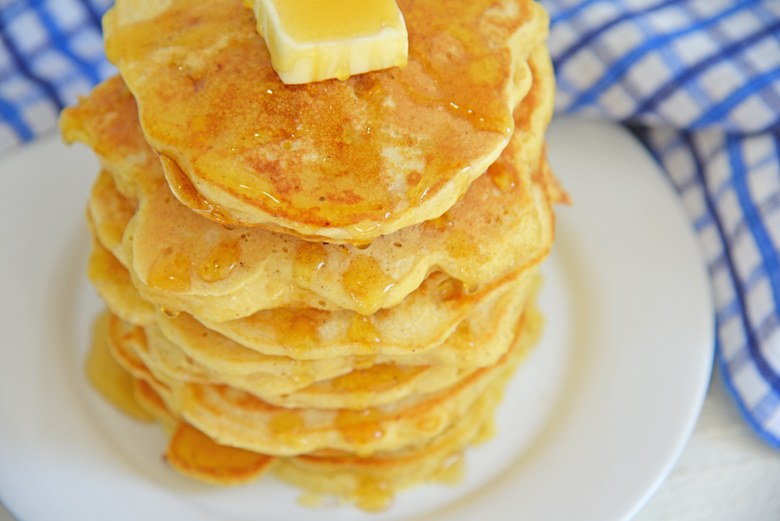 angle view of stack of corn patties