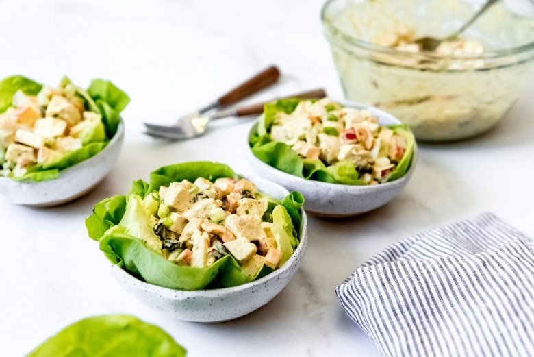 angle view of chicken salad in bowls