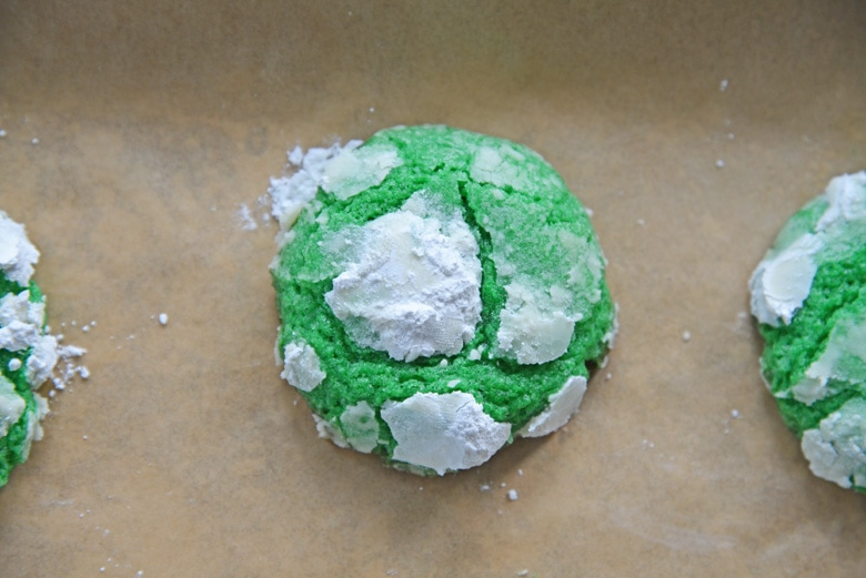 close up of green cookies for st. patrick's day
