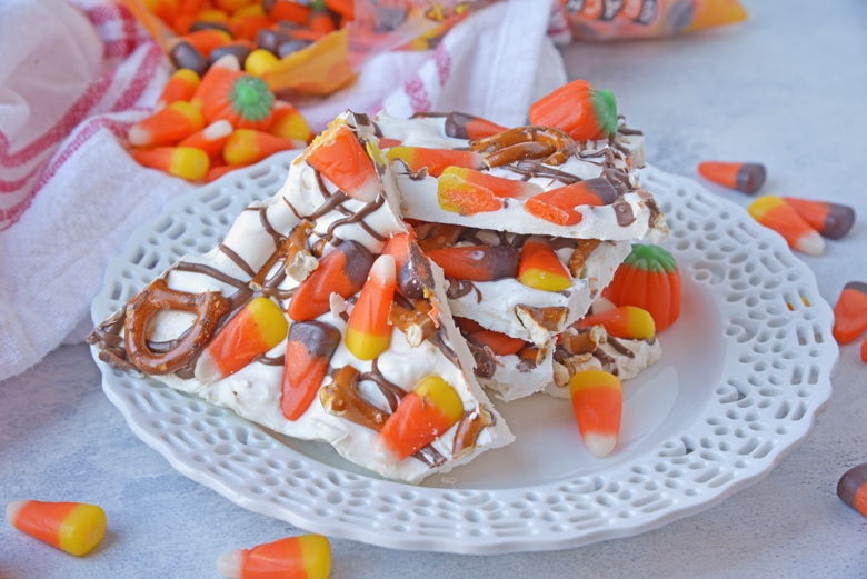 halloween bark pieces on a white plate