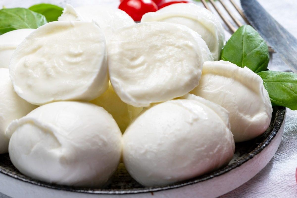 close up of homemade mozzarella cheese balls