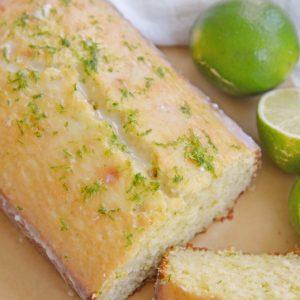 Sliced key lime pound cake