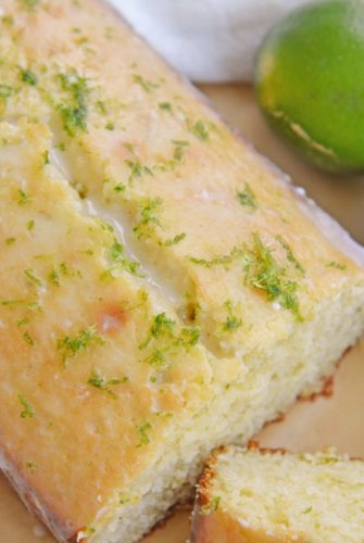 Sliced key lime pound cake