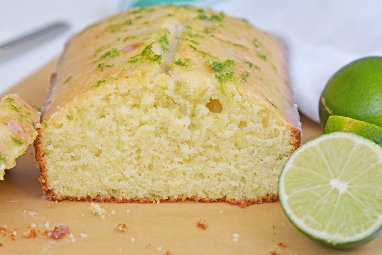 cross sectional view of key lime pound cake