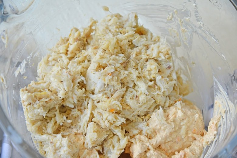 backfin crab meat in a mixing bowl
