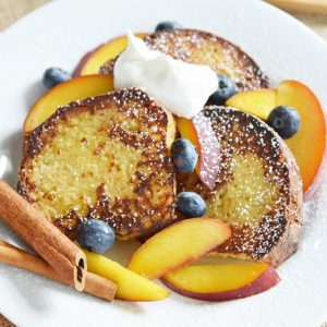 pound cake french toast with fresh fruit