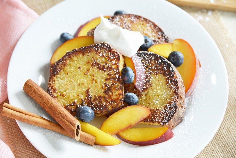 white plate with french toast