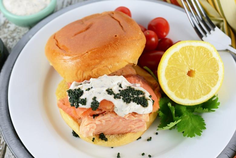overhead of fresh salmon sandwich