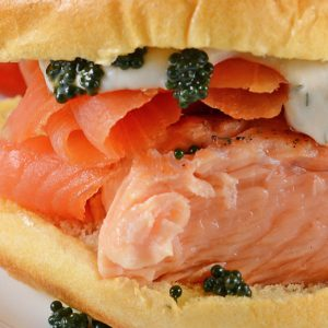 close up of fresh salmon sandwich