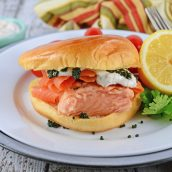 fresh salmon sandwich at an angle