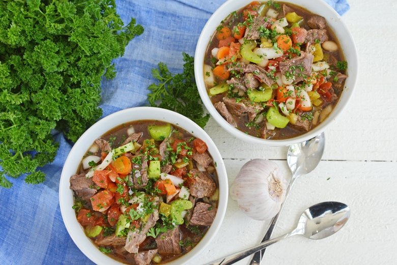 short rib soup in two white bowls