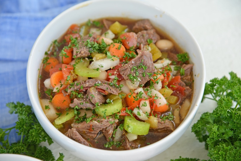 angle view of short rib soup in a serving bowl