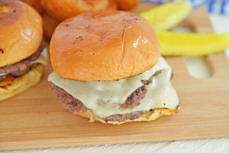 double stacked burger with cheese