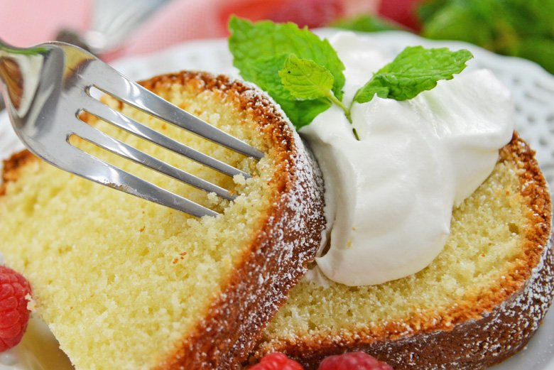 fork digging into sour cream pound cake