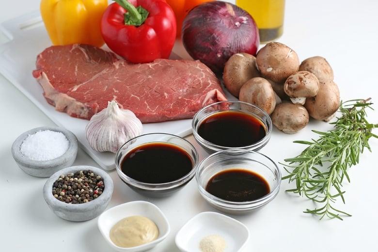 ingredients for steak kabob marinade