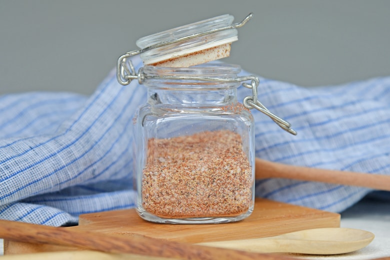 homemade spice mix in a glass jar
