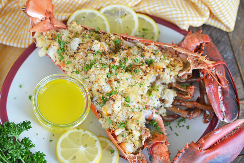 whole baked stuffed lobster with butter