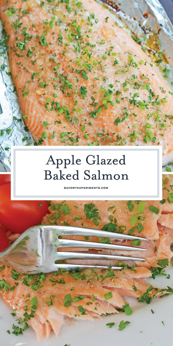 Apple glazed baked salmon for pinterest