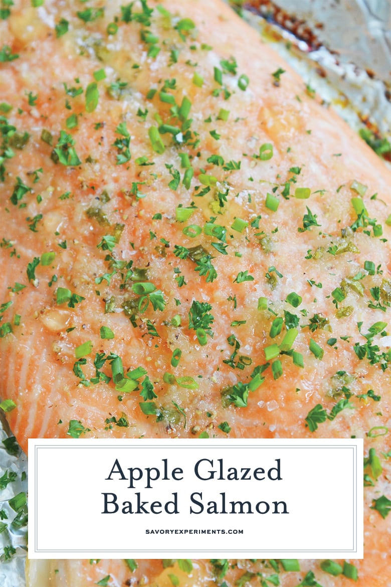 close up of glazed baked salmon