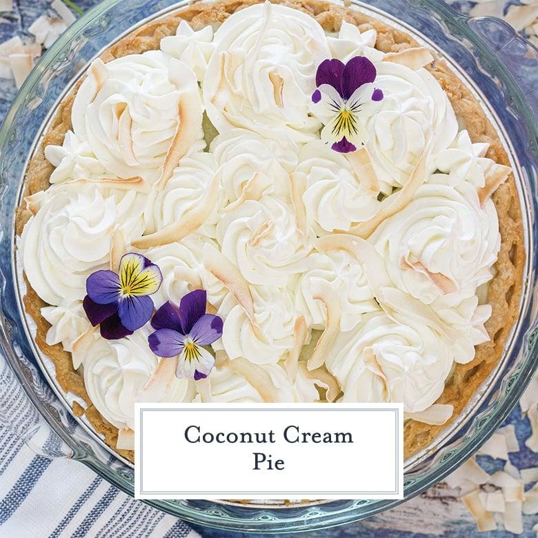 overhead of coconut cream pie with flowers