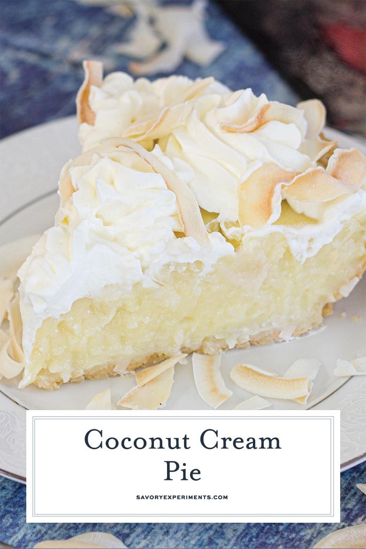 slice of coconut cream pie for pinterest