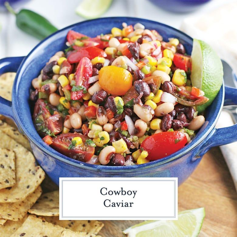 cowboy caviar in a blue serving bowl