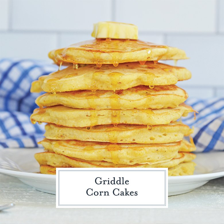 stack of corn cakes dripping with honey and butter