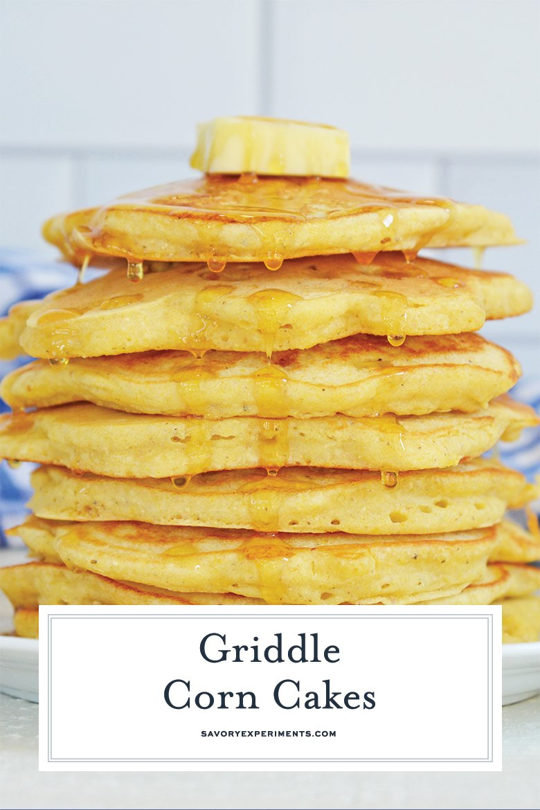 close up of corn cakes for pinterest