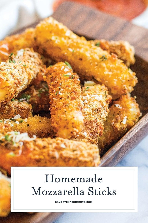 close up of fried mozzarella sticks