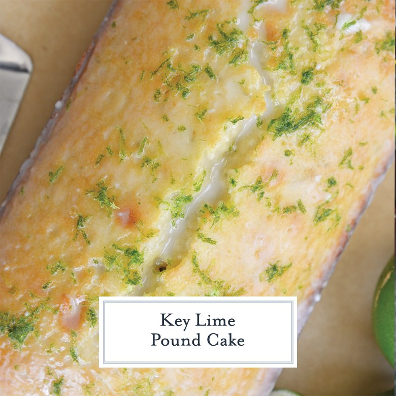 overhead of key lime pound cake with lime zest