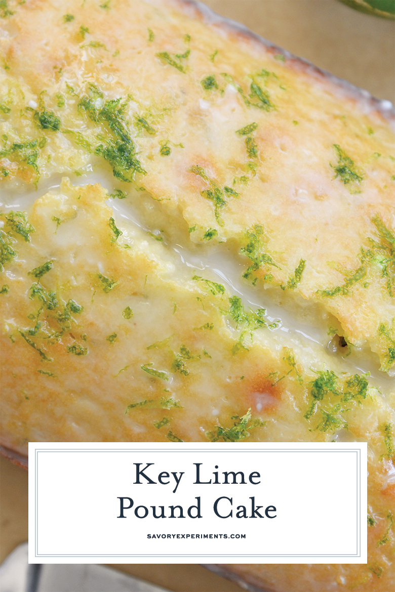 close up of key lime pound cake for pinterest