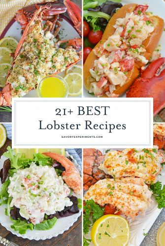collage of lobster recipe images