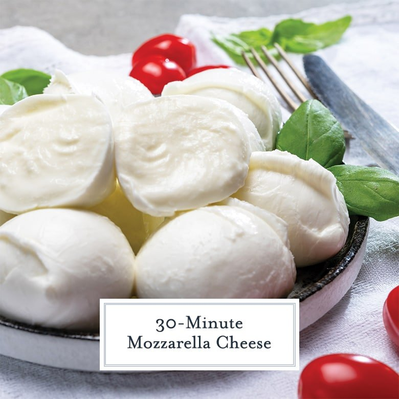 balls of homemade mozzarella with basil and grape tomatoes