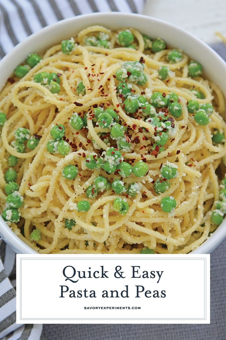 Close up of pasta and peas for pinterest
