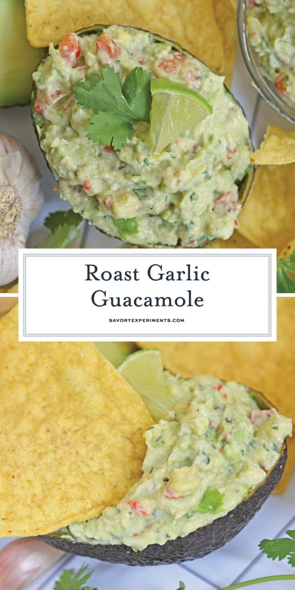 roast garlic guacamole for pinterest