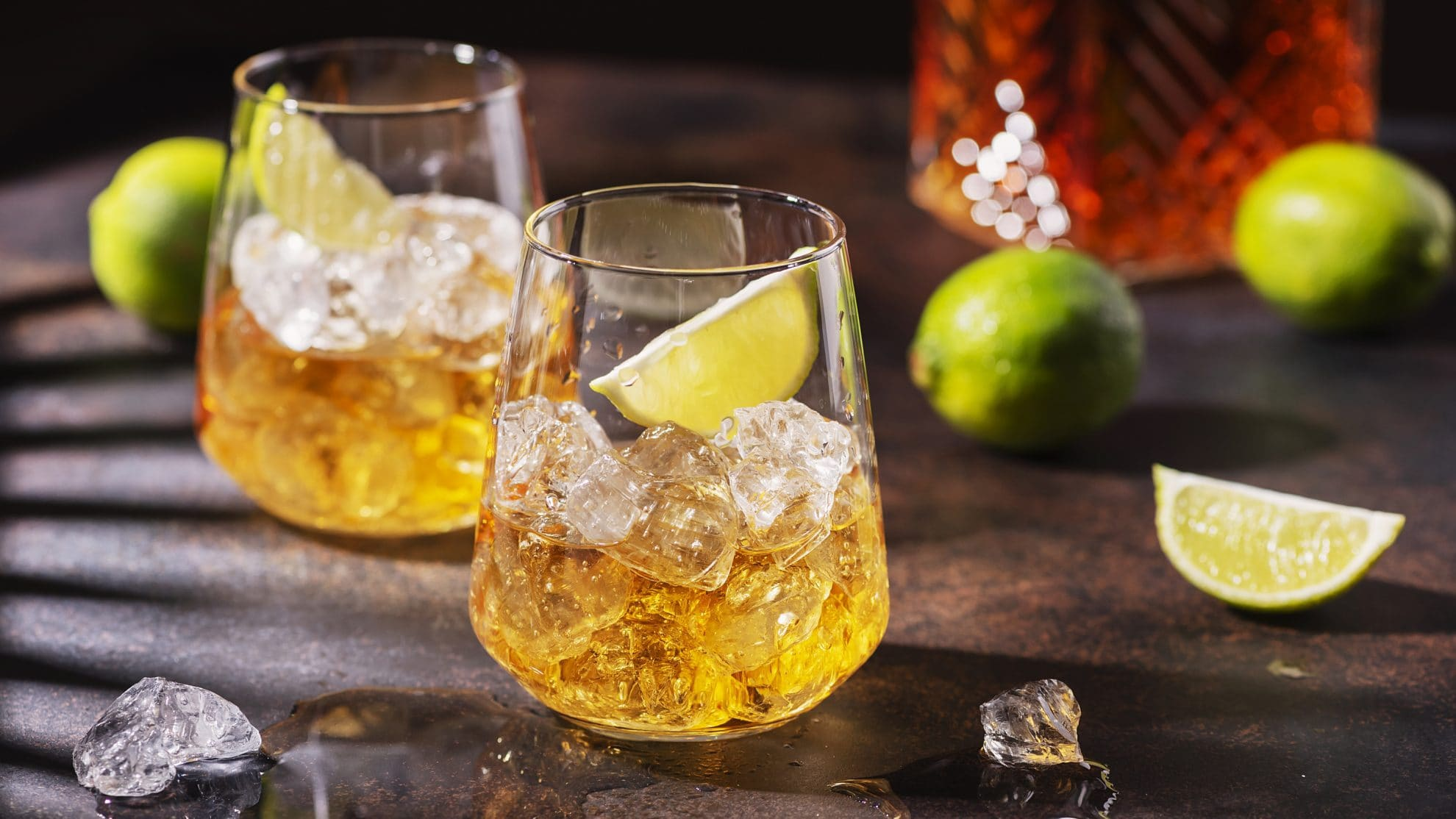 rum on ice with a lime