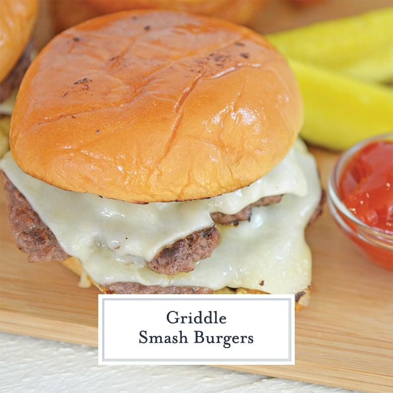 angle close up of a greasy smash burger
