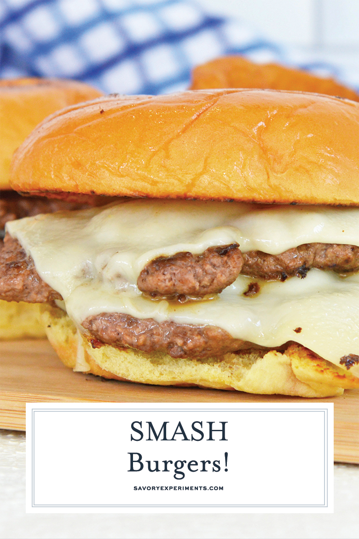 close up of smash burger for pinterest